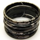Fashion Lucite 5 Pcs Multi Strand Bangle Bracelet Black