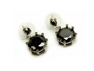CZ Stone Linear Drop Earrings Black