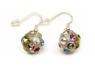 Crystal Studs Earrings Linear Drop Lucite Ball Multi