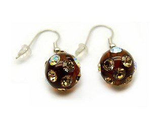 Crystal Studs Earrings Linear Drop Lucite Ball Espresso