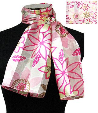 """Woman Fashion Oblong Scarf Satin Floral Pink13""""x60"""" NEW"""