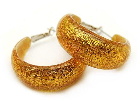Fashion Lucite Hoop Earrings Metallic Orange Gold Small