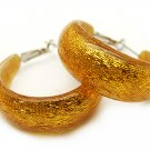 Fashion Lucite Hoop Earrings Metallic Orange Gold Small
