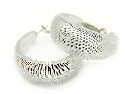 Fashion Lucite Hoop Earrings Metallic Silver Small