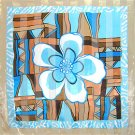 """Woman Square Scarf Flower Designer Turquoise42""""x42"""" NEW"""