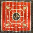 "Woman Square Scarf Chain Designer Red 42""x42"" NEW"