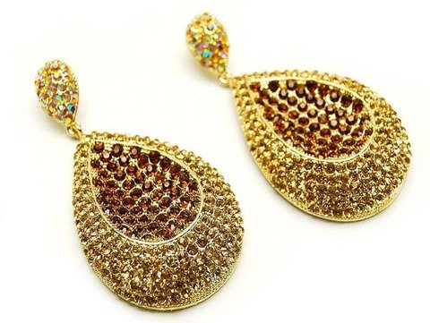 Crystal Studs Fashion Tear Drop Dangle Earrings Gold