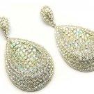 Crystal Studs Fashion Tear Drop Dangle Earrings White