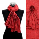 Corsage Decorated Ruffle Edged Scarf Red SF00188-RD