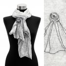 Corsage Decorated Ruffle Edged Scarf White Gray SF00188-WT
