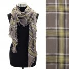 Plaid Design Fringed Rectangular Scarf Beige SF00197-BE