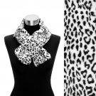 Faux Fur Pull Through Scarf Animal Print Leopard Black SF00202-LK