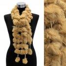 4-Strands Luxurious Rabbit Fur Ball Linked Scarf Camel  SF00200-CA