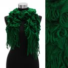Woven Ruffle Knit Scarf with Fringe Green SF00195-GN
