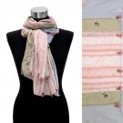 Hand Crafted Lace Design Fashion Scarf Beige Pink  SF00201-PK