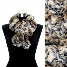 Faux Fur Ruffle Animal Print Scarf Brown White SF00185-BR