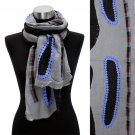 Bean Motif Hand Crafted Fashion Design Scarf Blue Gray  SF00206-BL