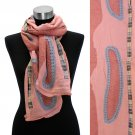 Bean Motif Hand Crafted Fashion Design Scarf Pink  SF00206-PK