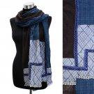 Square Corner Hand Crafted Fashion Design Scarf Blue SF00207-BL