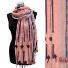 Short Tassel Hand Crafted Fashion Design Scarf Pink SF00205-PK