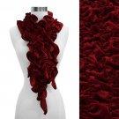 Silk Feel Velvet Stretch Ruffle Fashion Scarf Red SF00215-RD