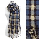 Dot Woven Design Fashion Fringe Scarf Blue Yellow  SF00213-BY