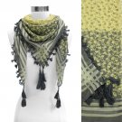 Duo Tone Floral Fashion Square Tassel Scarf Gray Yellow SF00212-YW