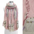 Stitched Edge Handmade Crafted Fashion Scarf Pink   SF00216-PK