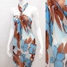 Beach Sarong Pareo Wrap Floral Design Turquoise Brown SFBP003