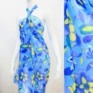 Beach Sarong Pareo Wrap Tropical Flower Blue Yellow SFBP024