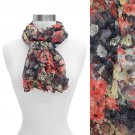 Scrunched Crinkled Floral Chiffon Light Scarf Red  SF00220-RD