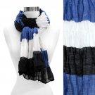 Tri Tone Color Block Stripe Light Fashion Scarf Blue SF00218-BL