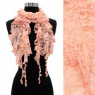 Floral Lace Elastic Ruffle Light Fashion Scarf Pink  SF00231-PK