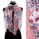 Duo Layered Floral Leopard Animal Chiffon Scarf Pink  SF00232-PK