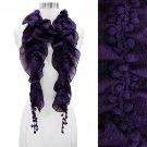 Pompom Decorated Grape Motif Chiffon Elastic Ruffle Fashion Scarf Purple  SF00238PU