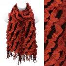 Two Tone Diagonal Pattern Design Popcorn Fashion Scarf Rust Red Black  SF00240RD