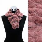 Solid Soft Faux Rabbit Fur Ruffle Pull Through Fashion Scarf Pink SF00184PK