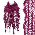 Vintage Net Design Furry Edge Detail Fringes Fashion Style Scarf Fuchsia Pink  SF00244FU
