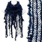 Vintage Net Design Furry Edge Detail Fringes Fashion Style Scarf Royal Blue SF00244BL