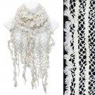 Vintage Net Design Furry Edge Detail Fringes Fashion Style Scarf White  SF00244WT
