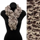 Zebra Pattern Animal Print Soft Faux Fur Ruffle Pull Through Scarf Brown  SF00247DB