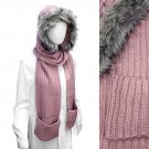 Fur Trim Hooded Hoodie Knit 1-Piece Scarf with Pocket Pink  SF00199-PK