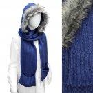Fur Trim Hooded Hoodie Knit 1-Piece Scarf with Pocket SF00199-BL