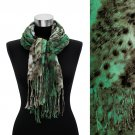 Leopard Animal Print with Fringe Fashion Trendy Scarf Green  SF00210GN