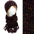 Multi-Colored Cold Weather Fashion Knitted Scarf & Beanie Hat 2 Pieces Set Black   HT00010BK