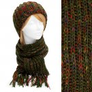 Multi-Colored Cold Weather Fashion Knitted Scarf & Beanie Hat 2 Pieces Set Green  HT00010GN