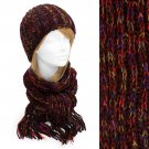 Multi-Colored Cold Weather Fashion Knitted Scarf & Beanie Hat 2 Pieces Set Brown