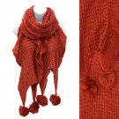 Soft Knit Ruffle Fashion Cold Weather Scarf with Pompoms Rust Red  SF00249RD