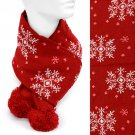 Snow Flakes Soft Cold Weather Fashion Scarf with Pompoms Pink White Red   SF00250RD