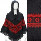 Hooded Snowflake Design Knitted with Fringe Trim Poncho Scarf Red Gray  SF00251GYRD